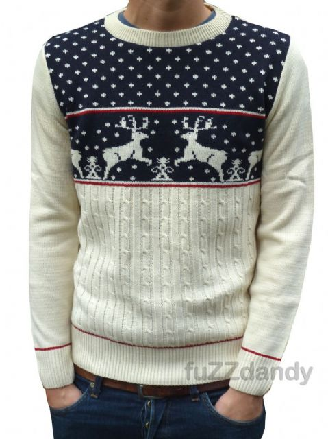 Reindeer - Christmas Fair-isle Jumper (navy)